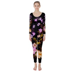 Awesome Flowers With Fire And Flame Long Sleeve Catsuit