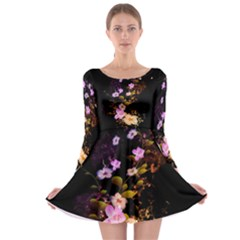 Awesome Flowers With Fire And Flame Long Sleeve Skater Dress
