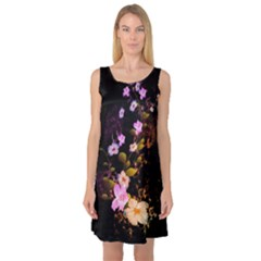 Awesome Flowers With Fire And Flame Sleeveless Satin Nightdresses