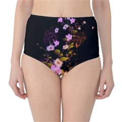 Awesome Flowers With Fire And Flame High-Waist Bikini Bottoms