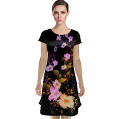 Awesome Flowers With Fire And Flame Cap Sleeve Nightdresses