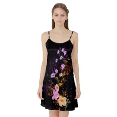 Awesome Flowers With Fire And Flame Satin Night Slip