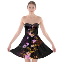 Awesome Flowers With Fire And Flame Strapless Bra Top Dress
