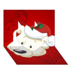 Funny Polar Bear Heart 3d Greeting Card (7x5)
