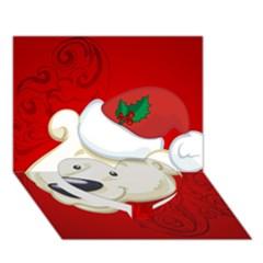 Funny Polar Bear Heart Bottom 3d Greeting Card (7x5)
