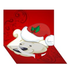 Funny Polar Bear Circle Bottom 3D Greeting Card (7x5)