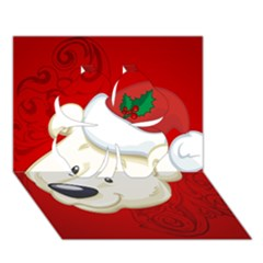 Funny Polar Bear Clover 3d Greeting Card (7x5)