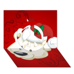Funny Polar Bear Peace Sign 3D Greeting Card (7x5)