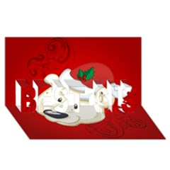 Funny Polar Bear BEST SIS 3D Greeting Card (8x4)