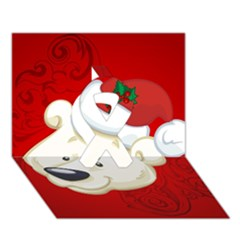 Funny Polar Bear Ribbon 3d Greeting Card (7x5)
