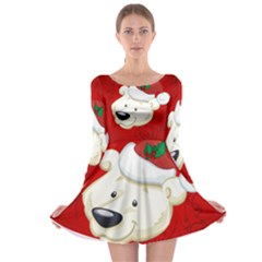 Funny Polar Bear Long Sleeve Skater Dress