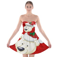 Funny Polar Bear Strapless Bra Top Dress