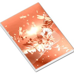 Amazing Flowers With Dragonflies Large Memo Pads