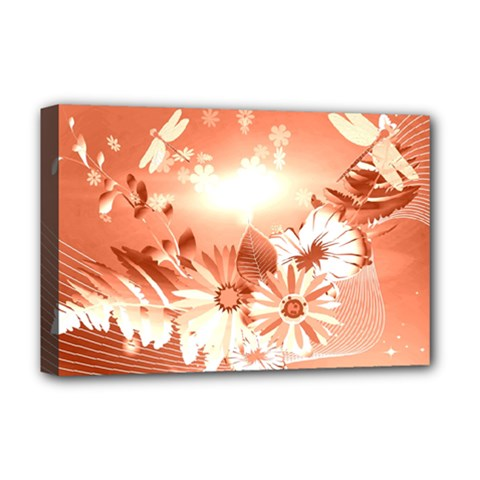 Amazing Flowers With Dragonflies Deluxe Canvas 18  x 12
