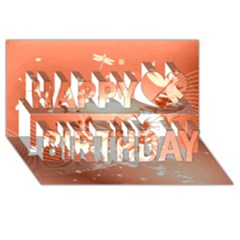 Amazing Flowers With Dragonflies Happy Birthday 3D Greeting Card (8x4)