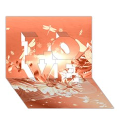 Amazing Flowers With Dragonflies LOVE 3D Greeting Card (7x5)