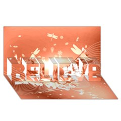 Amazing Flowers With Dragonflies Believe 3d Greeting Card (8x4)