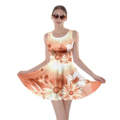 Amazing Flowers With Dragonflies Skater Dresses