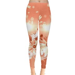 Amazing Flowers With Dragonflies Women s Leggings