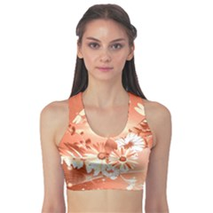 Amazing Flowers With Dragonflies Sports Bra
