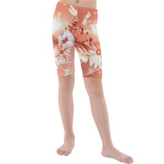 Amazing Flowers With Dragonflies Kid s swimwear
