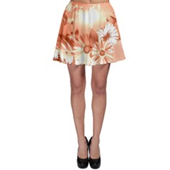 Amazing Flowers With Dragonflies Skater Skirts