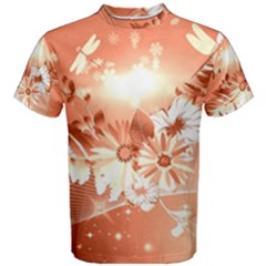 Amazing Flowers With Dragonflies Men s Cotton Tees
