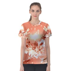 Amazing Flowers With Dragonflies Women s Sport Mesh Tees