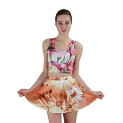 Amazing Flowers With Dragonflies Mini Skirts
