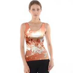 Amazing Flowers With Dragonflies Tank Tops
