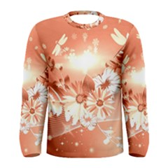 Amazing Flowers With Dragonflies Men s Long Sleeve T-shirts