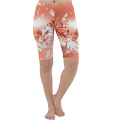 Amazing Flowers With Dragonflies Cropped Leggings