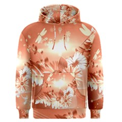 Amazing Flowers With Dragonflies Men s Pullover Hoodies