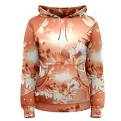Amazing Flowers With Dragonflies Women s Pullover Hoodies