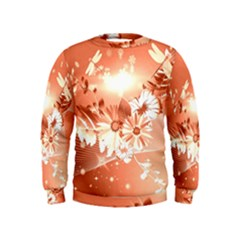 Amazing Flowers With Dragonflies Boys  Sweatshirts
