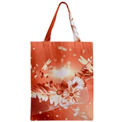 Amazing Flowers With Dragonflies Zipper Classic Tote Bags
