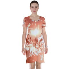Amazing Flowers With Dragonflies Short Sleeve Nightdresses