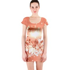Amazing Flowers With Dragonflies Short Sleeve Bodycon Dresses