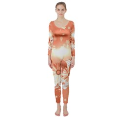 Amazing Flowers With Dragonflies Long Sleeve Catsuit