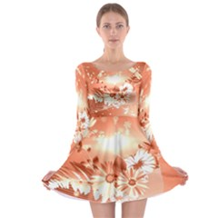 Amazing Flowers With Dragonflies Long Sleeve Skater Dress