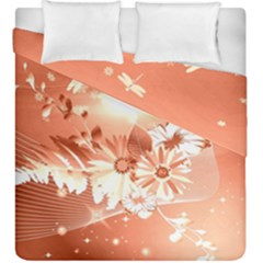 Amazing Flowers With Dragonflies Duvet Cover (king Size)