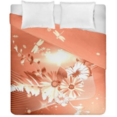 Amazing Flowers With Dragonflies Duvet Cover (double Size)