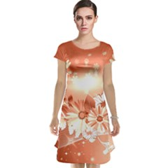 Amazing Flowers With Dragonflies Cap Sleeve Nightdresses