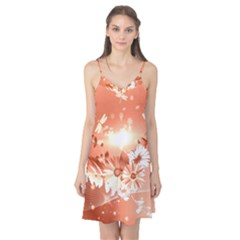 Amazing Flowers With Dragonflies Camis Nightgown