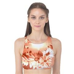 Amazing Flowers With Dragonflies Tank Bikini Top
