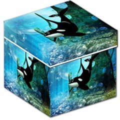 Orca Swimming In A Fantasy World Storage Stool 12