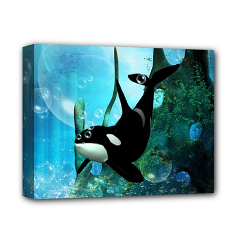 Orca Swimming In A Fantasy World Deluxe Canvas 14  x 11