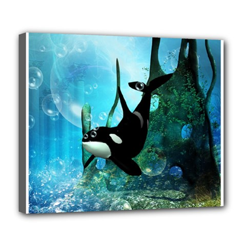 Orca Swimming In A Fantasy World Deluxe Canvas 24  x 20