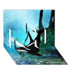 Orca Swimming In A Fantasy World I Love You 3d Greeting Card (7x5)