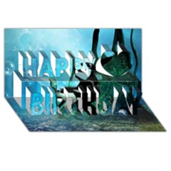 Orca Swimming In A Fantasy World Happy Birthday 3D Greeting Card (8x4)